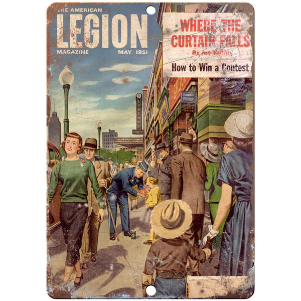 "1951 American Legion Magazine vintage advertising 10"" x 7"" retro metal sign"