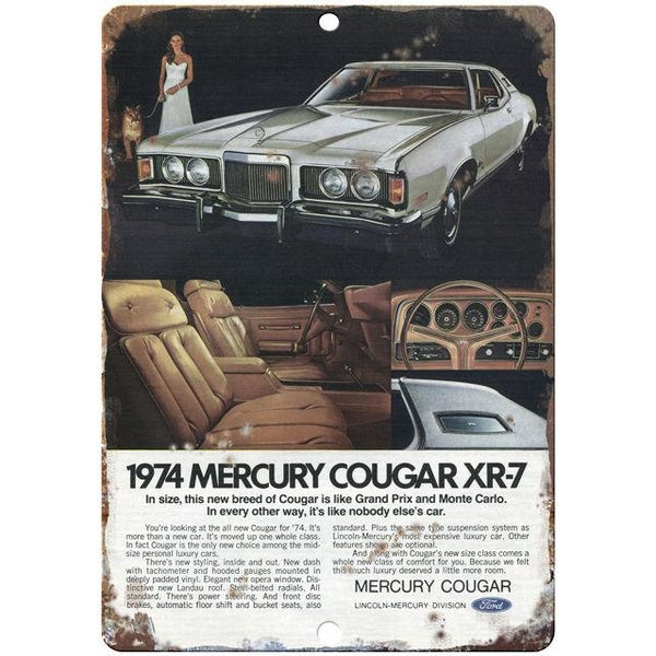 "Mercury Cougar 1974 10"" x 7"" Reproduction Metal Sign"