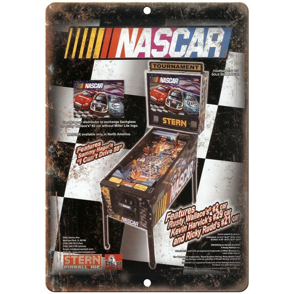 "Stern Pinball Machine Vintage Ad NASCAR 10"" x 7"" Reproduction Metal Sign D59"