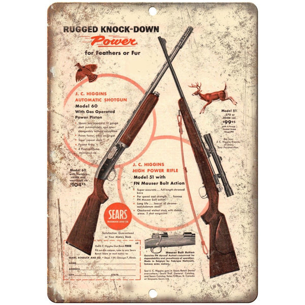 "J.C. Higgins Automatic Shotgun Power Rifle 10"" x 7"" Reproduction Metal Sign"
