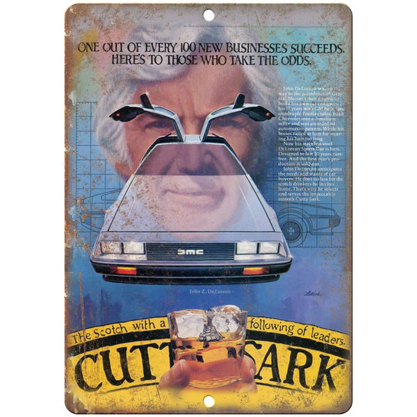 "DMC DeLorean Vintage Car Ad Cutty Shark - 10"" x 7"" Retro Look Metal Sign"
