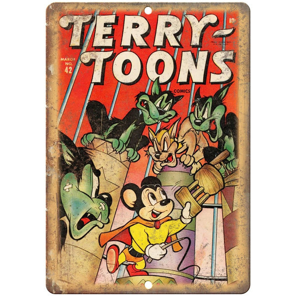 "Terry Toons Comic Book Cover Art 10"" X 7"" Reproduction Metal Sign J236"