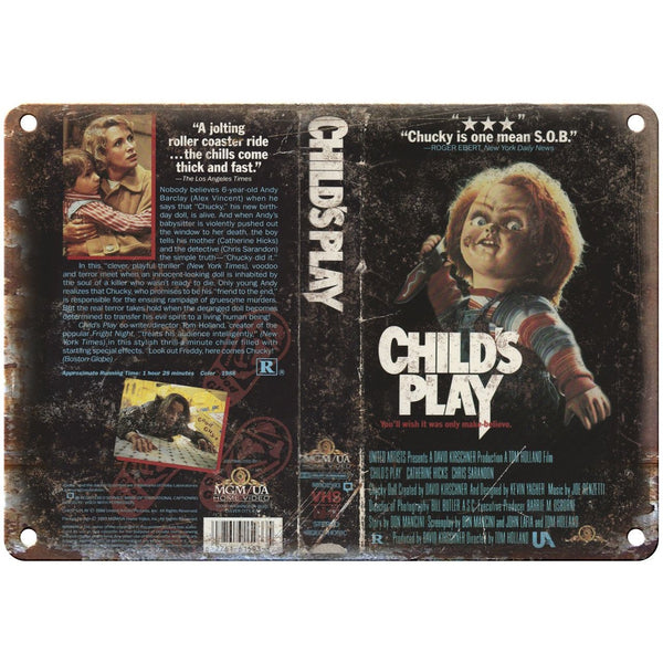 "Child's Play Chucky VHS Cover Art MGM Video 10"" X 7"" Reproduction Metal Sign V15"
