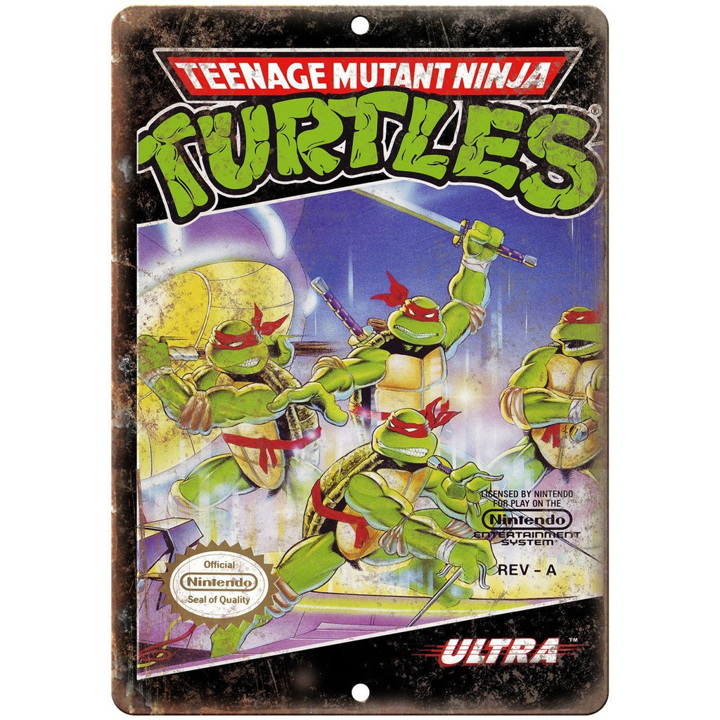 "Ninja Turtles Nintendo Ultra Games Box Art 10"" x 7"" Reproduction Metal Sign G20"