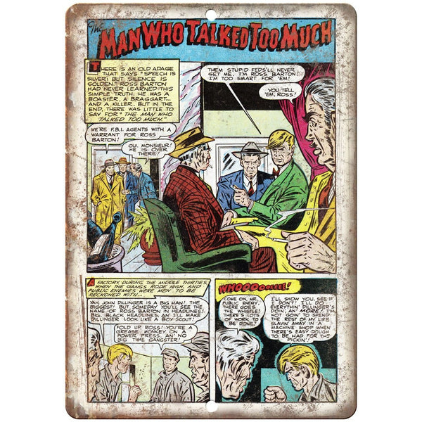 "Ace Comics The Man Who Talked Too Much 10"" X 7"" Reproduction Metal Sign J373"
