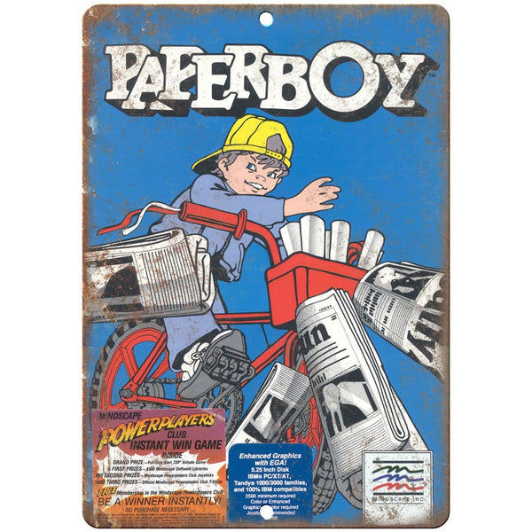 "Paperboy Video Game Ad Arcade Gaming 10"" x 7"" Retro Look Metal Sign"