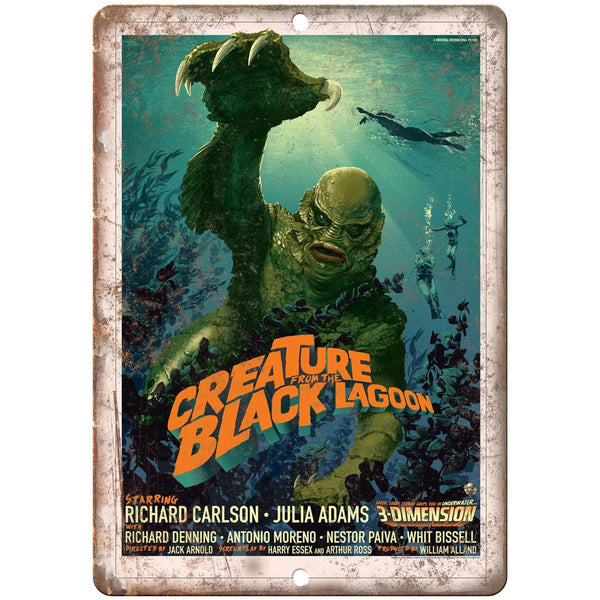"Creature from the Black Lagoon Movie Poster 10"" x 7"" Reproduction Metal Sign"