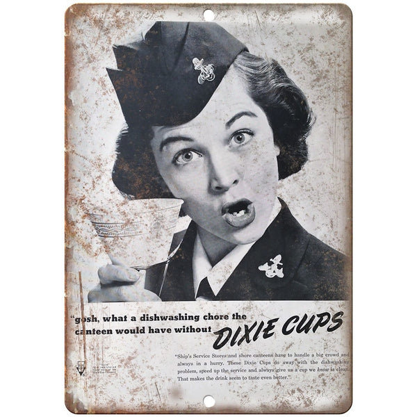 "Dixie Cups Vintage Advertisment 10"" x 7"" Reproduction Metal Sign E309"