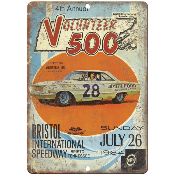 "1964 Volunteer 500 Bristol speedway 10"" x 7"" Vintage Look Metal Sign"