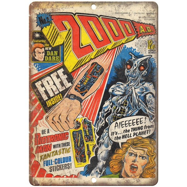 "2000 A.D. Comic No 2 Comic Book Cover Art 10"" x 7"" Reproduction Metal Sign J659"