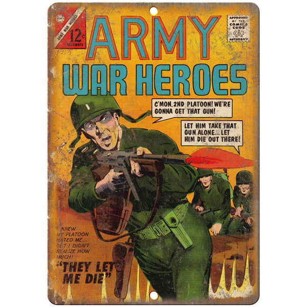 "Army War Heroes Comic Book Cover Vintage 10"" x 7"" Reproduction Metal Sign J709"