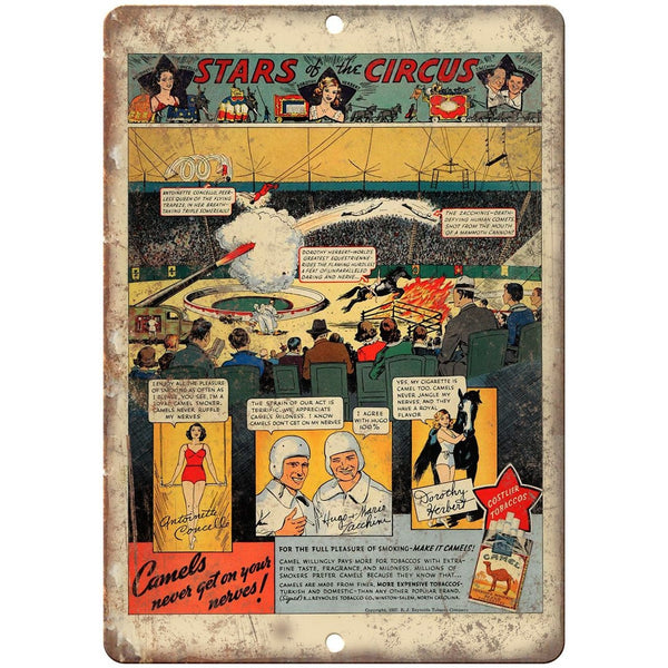 "Camel Cigarette Stars of the Circus Ad 10"" X 7"" Reproduction Metal Sign ZH111"