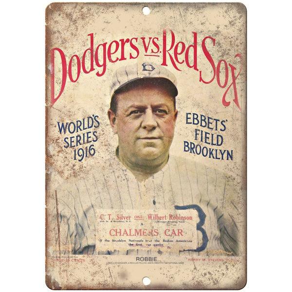 "Dodgers vs. Red Sox 1916 World Series 10"" x 7"" Reproduction Metal Sign X21"