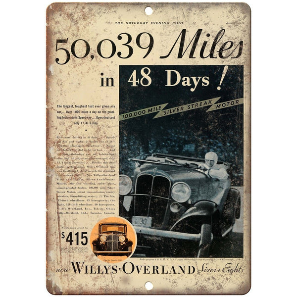"Willys Overland Silver Streak Motor Race 10"" X 7"" Reproduction Metal Sign A556"
