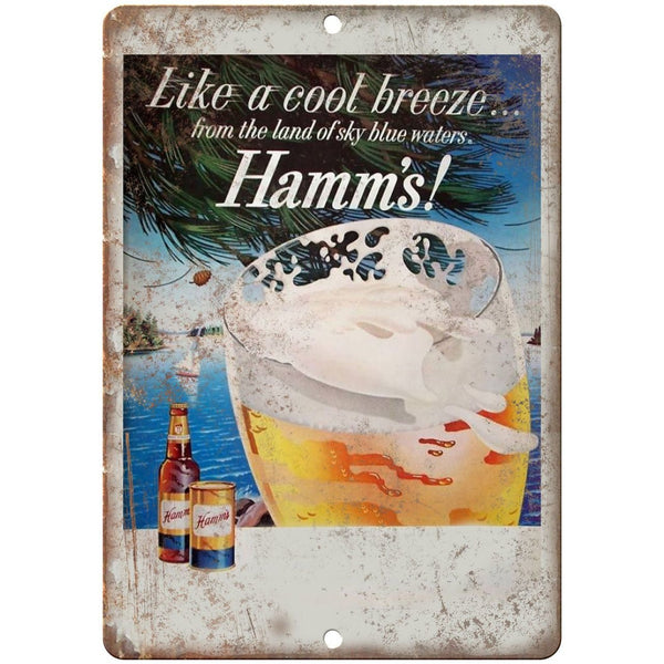 "10"" x 7"" Metal Sign - Hamm's Beer Cool Breeze Ad - Vintage Look Reproduction"