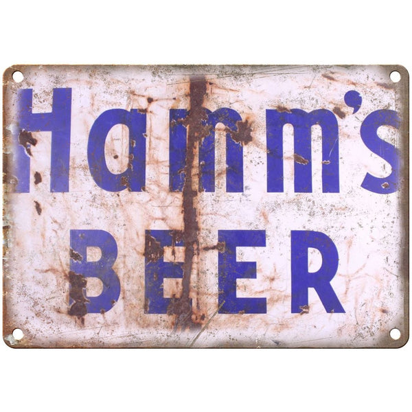 "10"" x 7"" Metal Sign - Hamm's Beer Rusted Sign Vintage Look Reproduction"