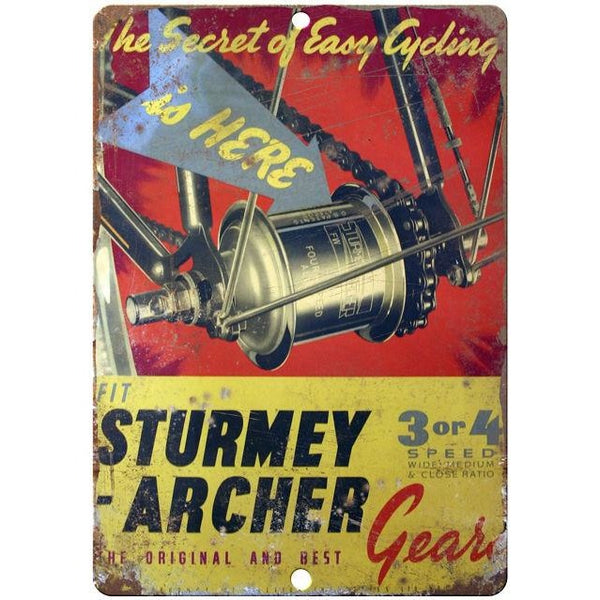 "Sturmey bicycle gears vintage advertising 10"" x 7"" reproduction metal sign"