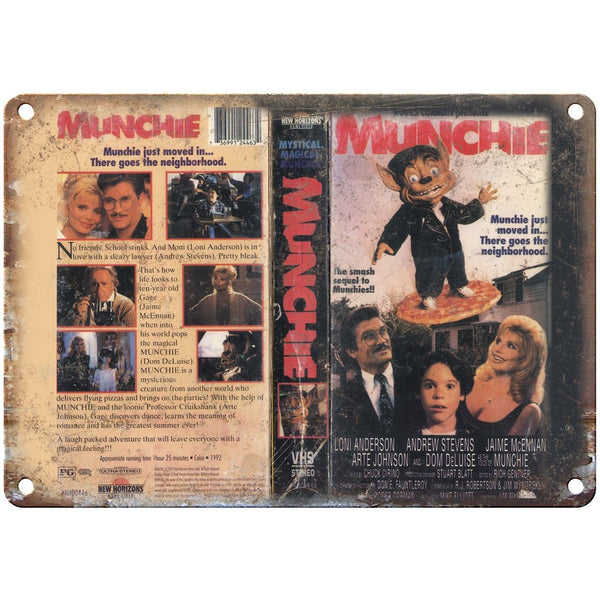 "Munchie New Horizons VHS Box Art 10"" X 7"" Reproduction Metal Sign V17"