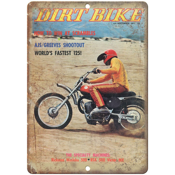 "1971 Dirt Bike Magazine Cover BSA 500 10"" x 7"" Reproduction Metal Sign A366"
