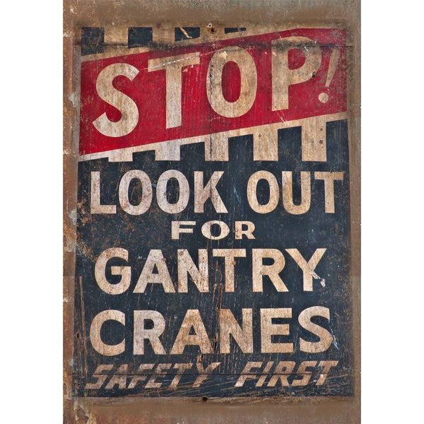 "Porcelain Look Stop Look Out For Gantry Cranes 10"" x 7"" Retro Look Metal Sign"
