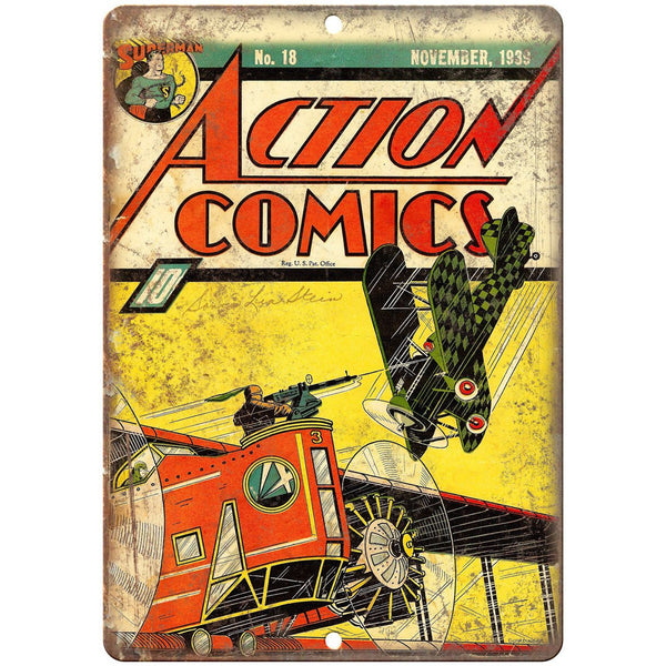 "Action Comics No 18 Book Cover Vintage Ad 10"" x 7"" Reproduction Metal Sign J669"