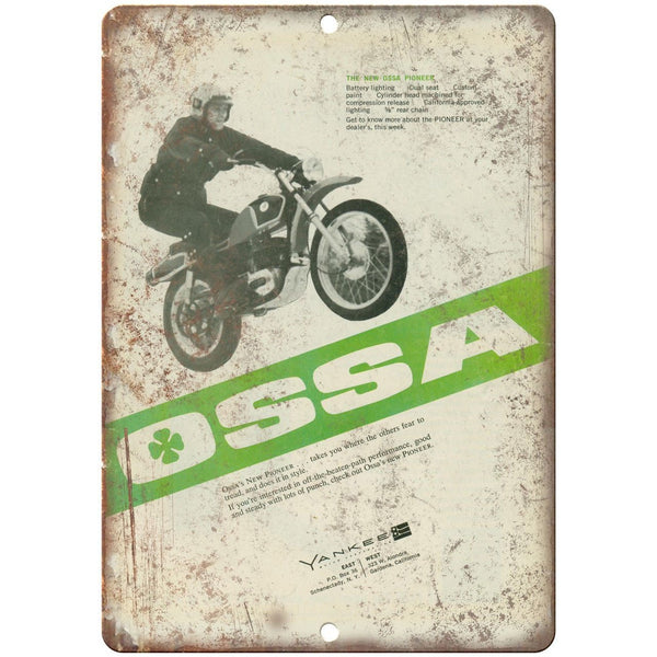 "OSSA Yankee Pioneer Motorcycle Vintage Ad 10"" x 7"" Reproduction Metal Sign A375"