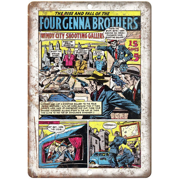 "Four Genna Brothers Chicago Crime Comic 10"" X 7"" Reproduction Metal Sign J358"