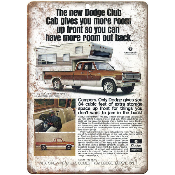 "1973 Dodge Club Camper Cab Vintage Ad 10"" x 7"" Reproduction Metal Sign A259"