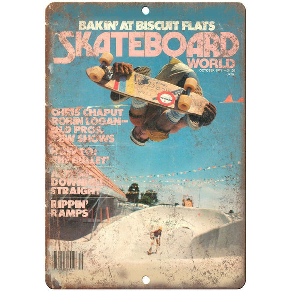 "1977 Skateboard World Magazine Freestyle Park 10"" x 7"" Reproduction Metal Sign"