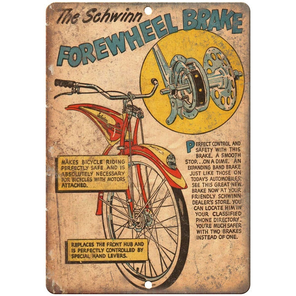 "1949 Schwinn Bicycle Book Forewheel Brake 10"" x 7"" reproduction metal sign"