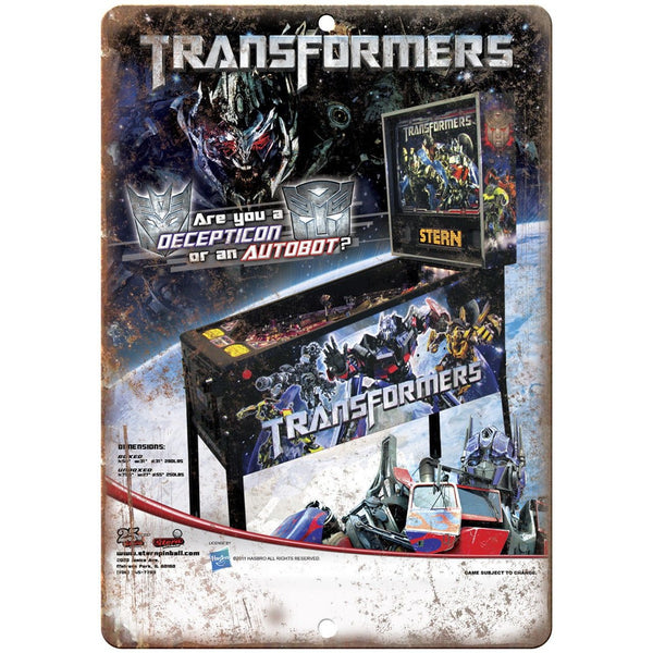 "Transformers Pinball Machine Ad 10"" x 7"" Reproduction Metal Sign G207"