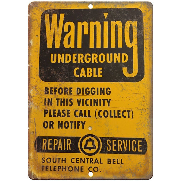 "Porcelain Look Warning Underground Cable 10"" x 7"" Retro Look Metal Sign"