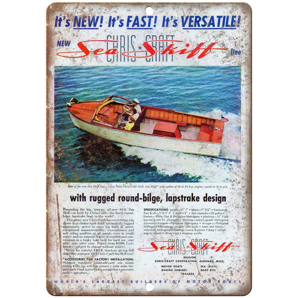 "Sea Shift Boating Vintage Ad 10"" x 7"" Reproduction Metal Sign L15"