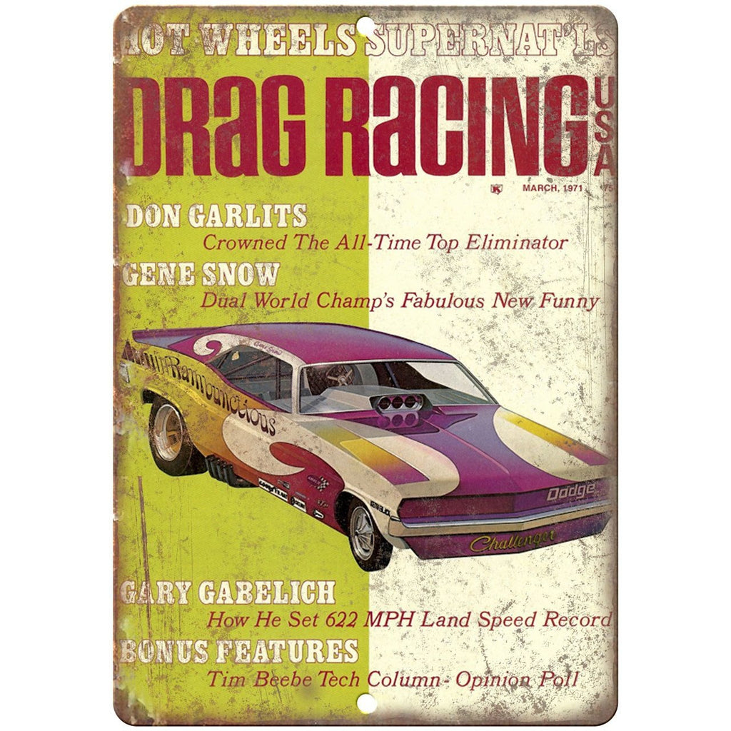 "1971 Drag Racing USA, Don Garlits, Gene Snow, 10"" x 7"" Retro Metal Sign"