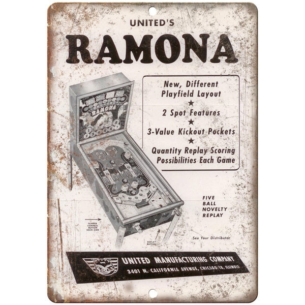 "United's Ramona Pinball Machine Ad 10"" x 7"" Reproduction Metal Sign G148"