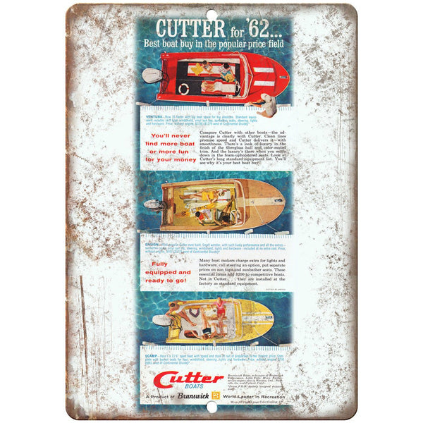 "62 Cutter Boat Vintage Ad 10"" x 7"" Reproduction Metal Sign L52"