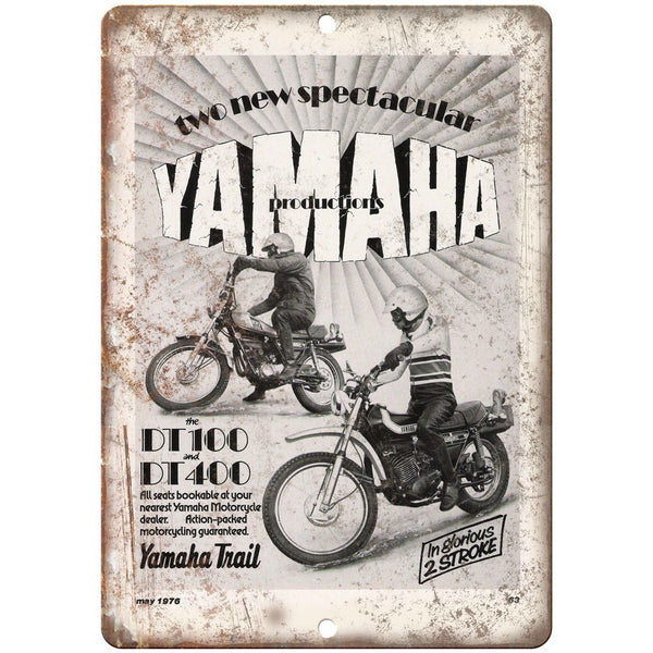 "1976 Yamaha DT 100 & DT 400 Trail Bike Ad 10"" x 7"" Reproduction Metal Sign F16"