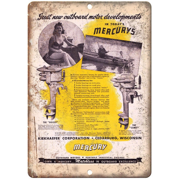 "Mercury Outboard Motors Boating Vintage Ad 10"" x 7"" Reproduction Metal Sign"