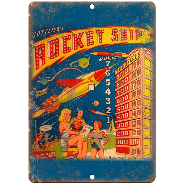 "Gottlieb's Rocket Ship Pinball Machine Ad 10"" X 7"" Reproduction Metal Sign G76"