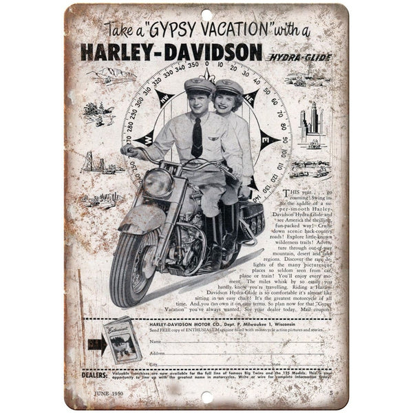 "1950 Harley-Davidson Hydra Glide Vintage Ad 10"" X 7"" Reproduction Metal Sign F34"