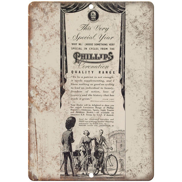 "Phillips Coronation Bicycle Vintage Ad10"" x 7"" Reproduction Metal Sign B365"