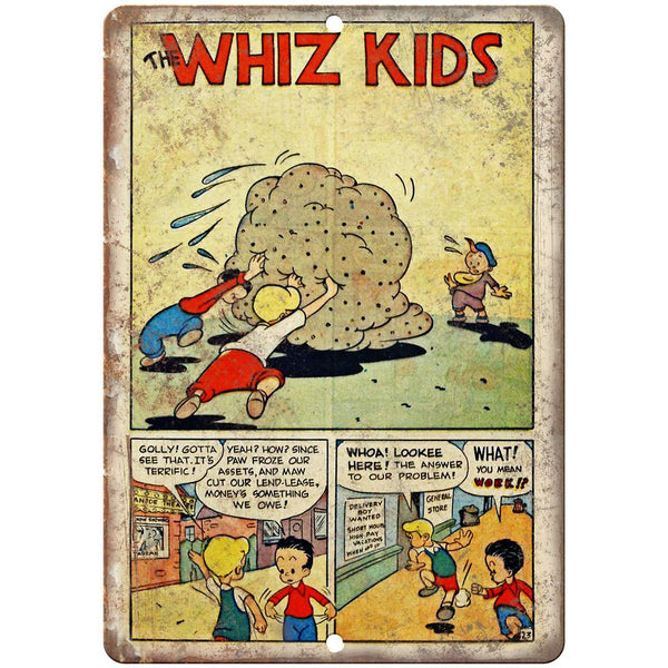 "The Whiz Kids Comic Strip Ad 10"" x 7"" Reproduction Metal Sign J544"