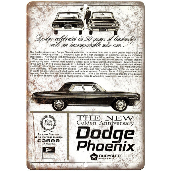 "1964 Dodge Phoenix Vintage Auto Ad 10"" x 7"" Reproduction Metal Sign A236"