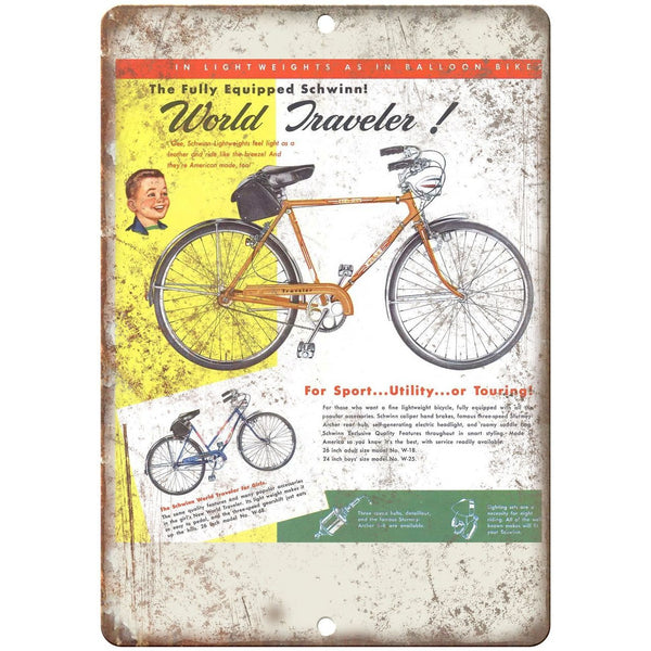 "1952 Schwinn Bicycle Ad World Traveler - 10"" x 7"" Retro Look Metal Sign"