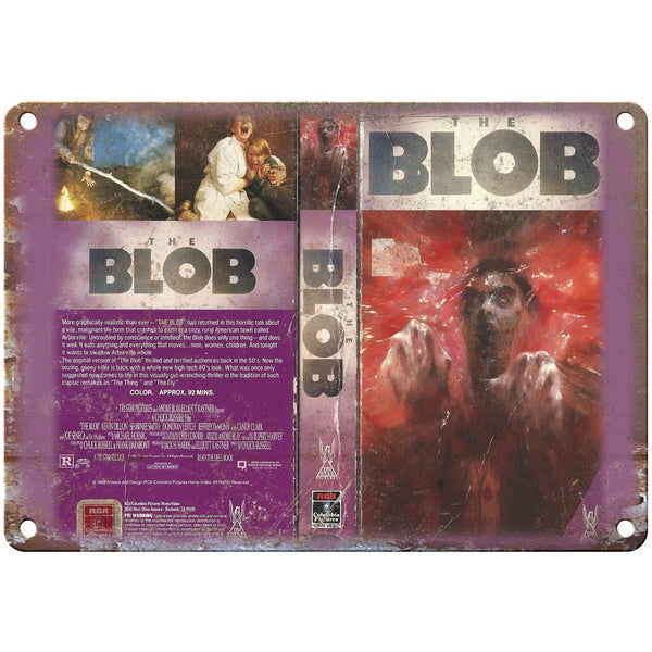 "The Blob Tri Star Pictures VHS Box Art 10"" X 7"" Reproduction Metal Sign V23"