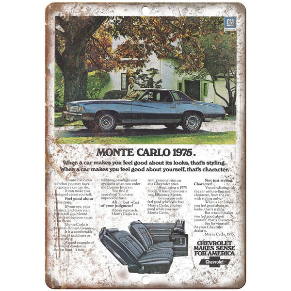 "1975 Chevy Monte Carlo Vintage Print Ad 10"" x 7"" Reproduction Metal Sign"
