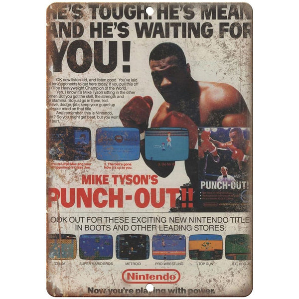 "Mike Tysons Punch-Out Nintendo NES 10"" x 7"" reproduction metal sign"