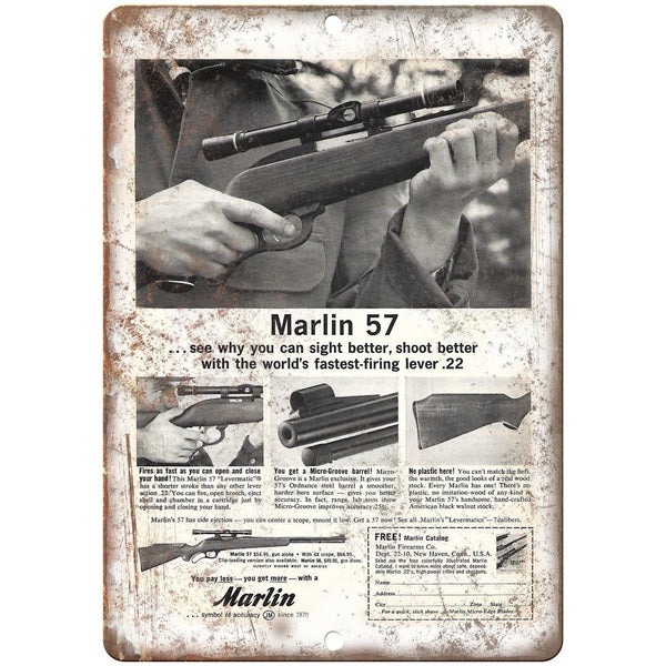 "Marlin 57 Firearms .22 Rifle Vintage Ad 10"" x 7"" Reproduction Metal Sign"