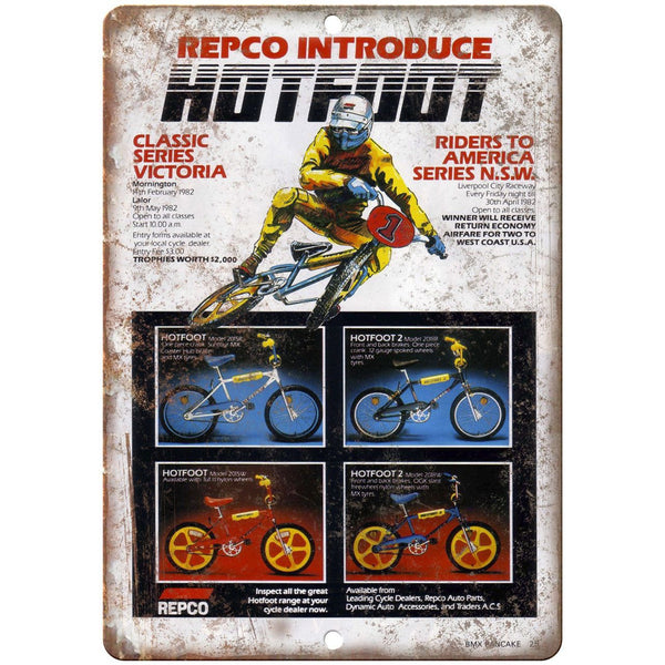 "Repco Hotfoot BMX Mag Wheel Bicycle Ad 10"" x 7"" Reproduction Metal Sign B479"