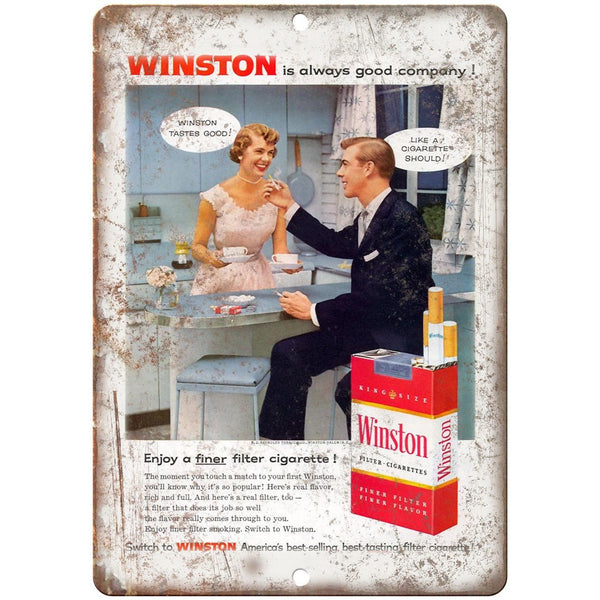 "Winston Filter Cigarette Tobacco Ad 10"" X 7"" Reproduction Metal Sign Y16"